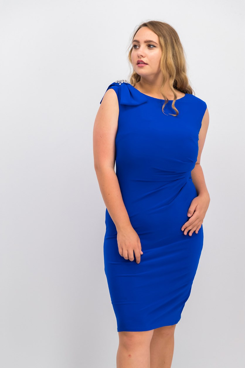Embellished-Bow Sheath Dress, Cobalt