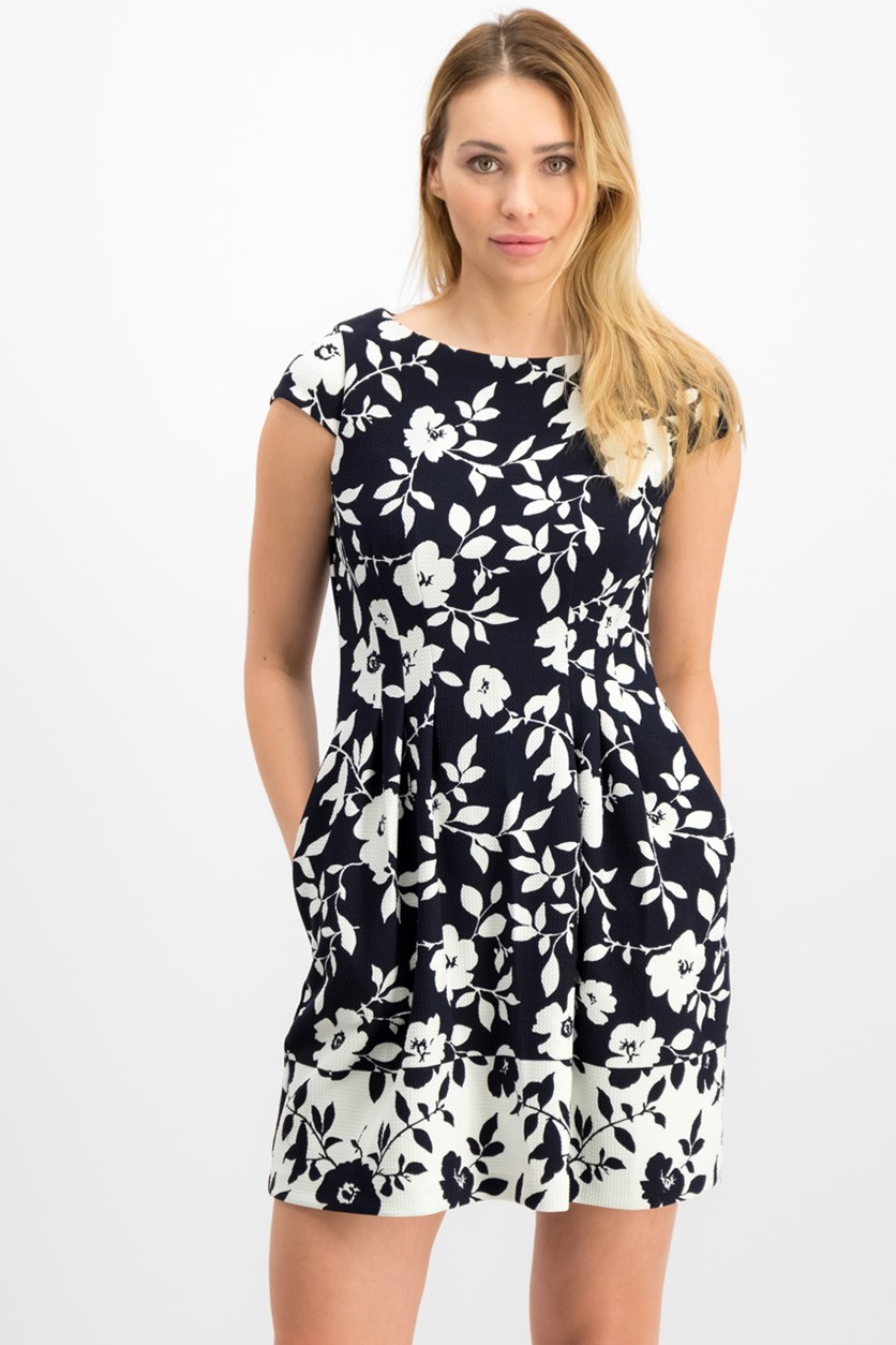 Petite Floral Fit & Flare Dress, Navy/White