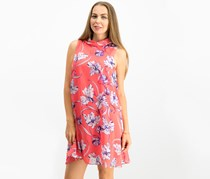 Jessica Howard Women's Petite Floral Mock-Neck Dress, Coral