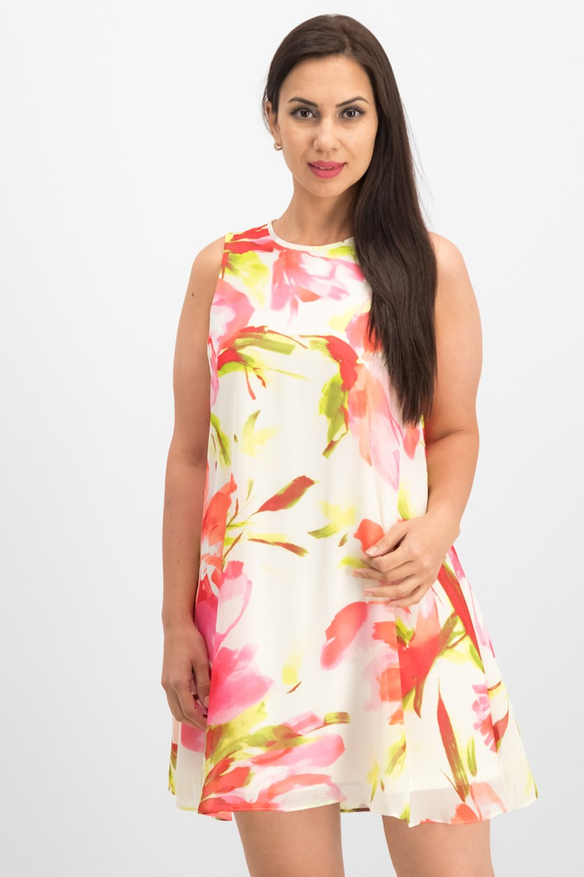 Printed Shift Dress, Floral Combo