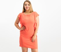 Jessica Howard Women's Ruffled Sheath Dress, Coral
