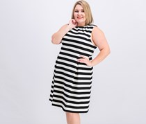 Women Plus Size Striped Fit Flare Dress, Black/Cream
