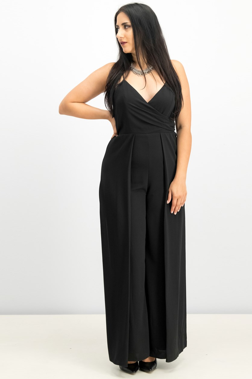 Surplice Jumpsuit, Black
