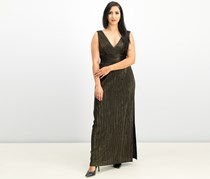 Jessica Howard Womens Cocktail Formal Evening Dress Gown, Black/Gold