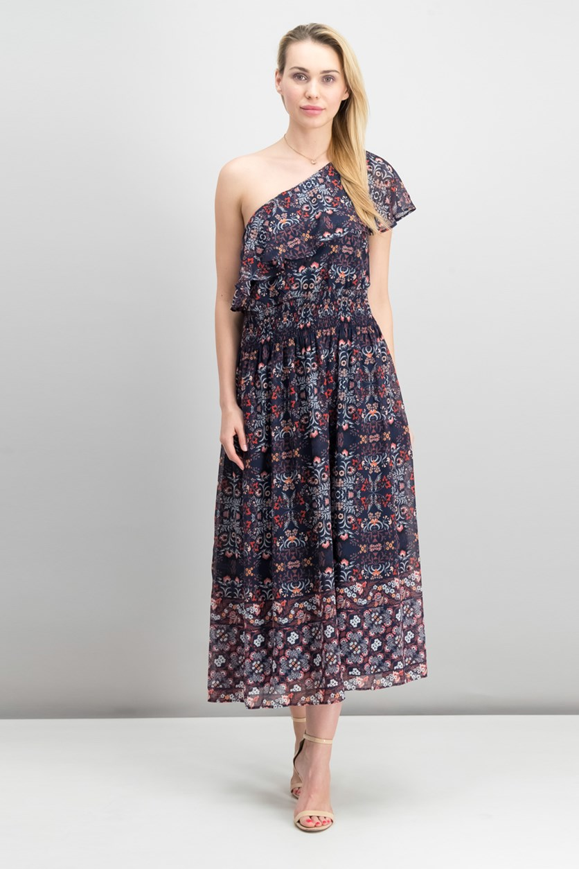 Printed One-Shoulder Maxi Dress, Navy