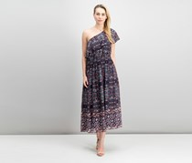 Vince Camuto Printed One-Shoulder Maxi Dress, Navy