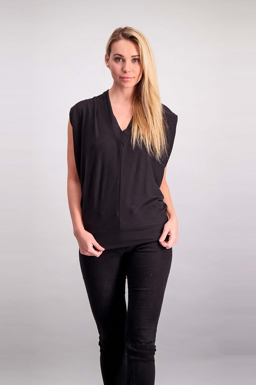 Women's Cut Out Knit Top, Black