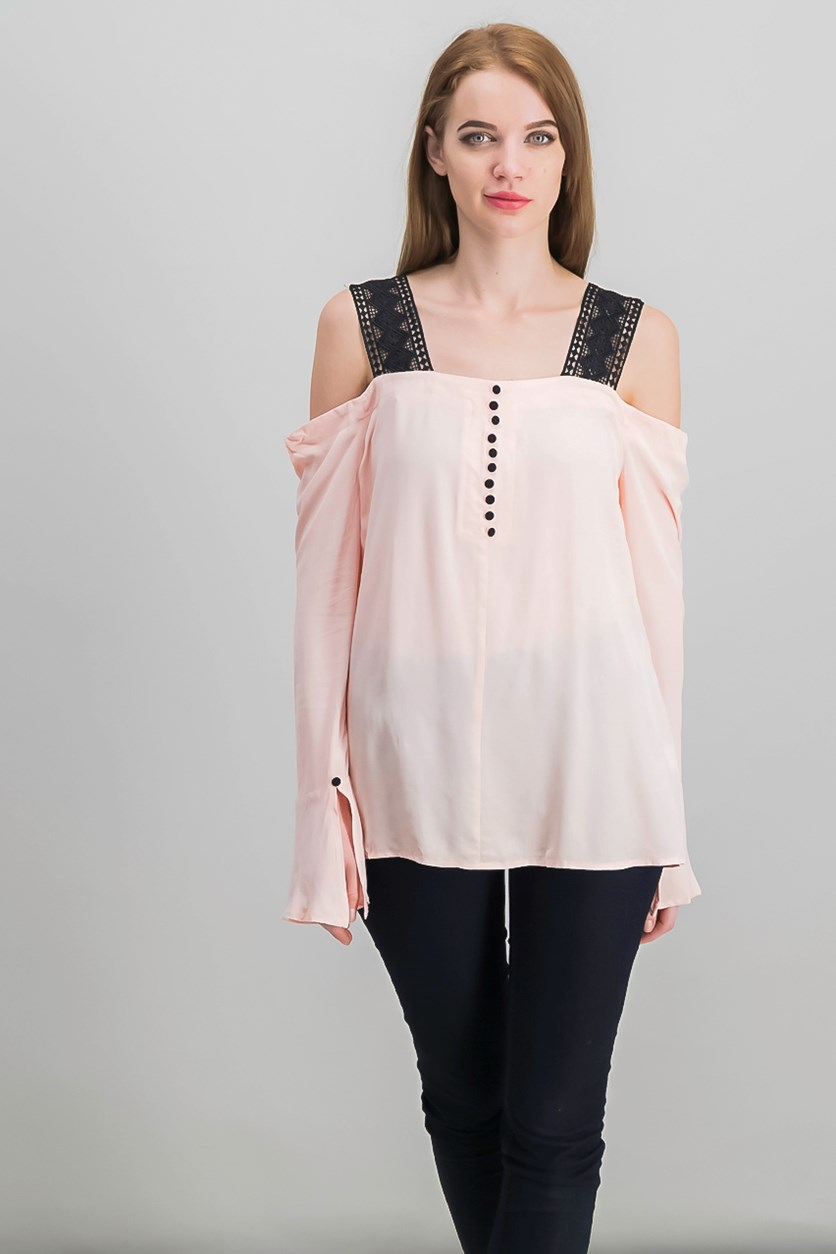 Cold-Shoulder Lace-Strap Top, Blush