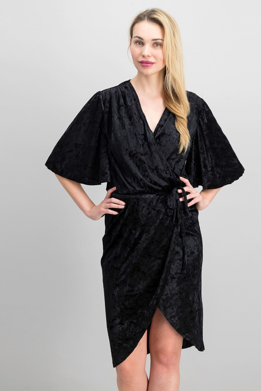 Flutter Sleeve Velvet Wrap Dress, Black
