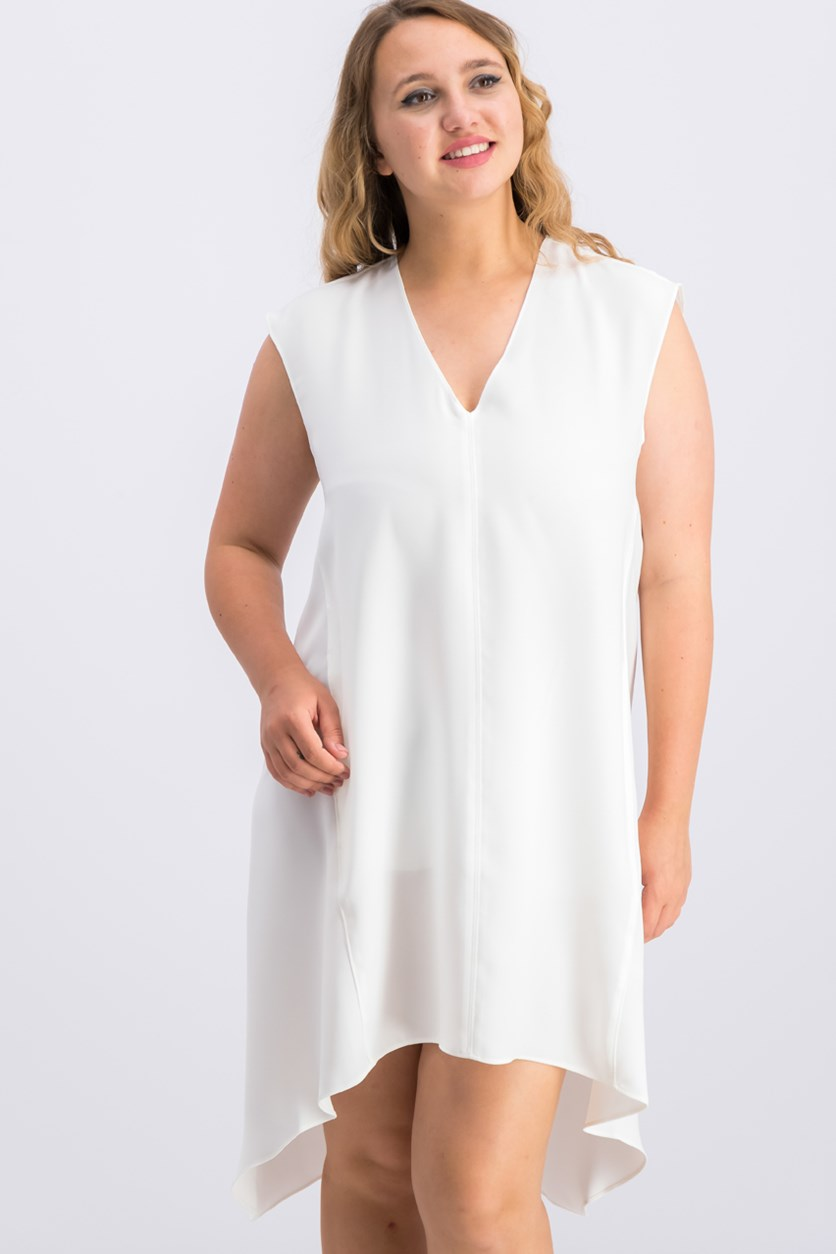 Women's V-neck Flowy Back Dress, Snow White
