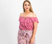 Hippe Rose Junior's Lace-Up Ruffled Top, Berry Blush