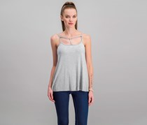 Hippie Rose Juniors Strappy Tank Top, Light Heather Grey