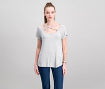 Hippie Rose Juniors Strappy T-Shirt, Light Heather Grey