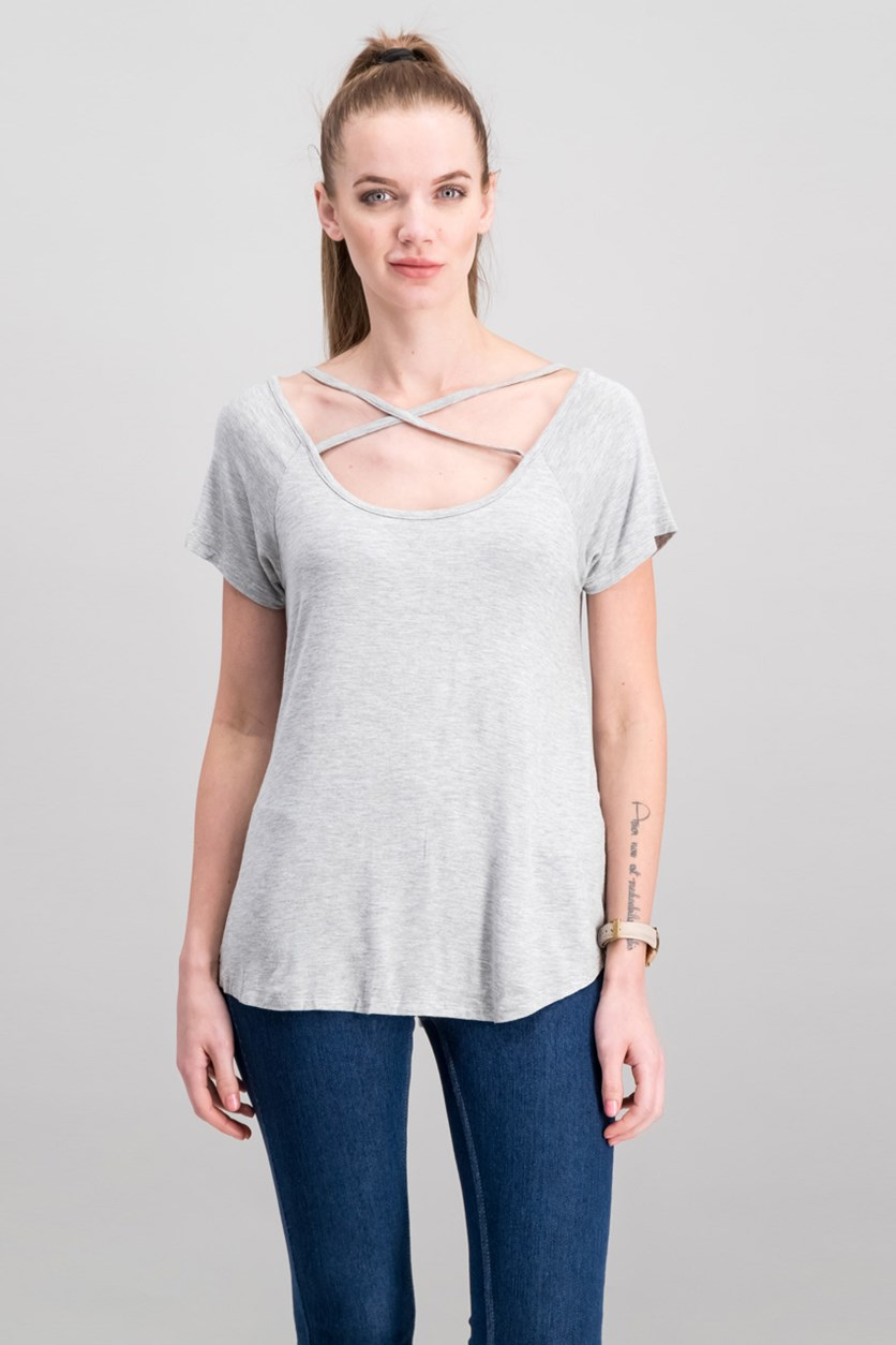 Juniors Strappy T-Shirt, Light Heather Grey