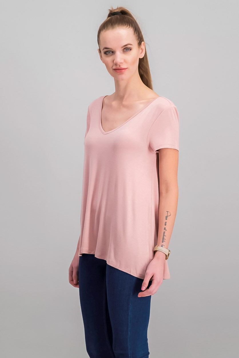 Juniors Strappy-Back T-Shirt, Velvet Blush