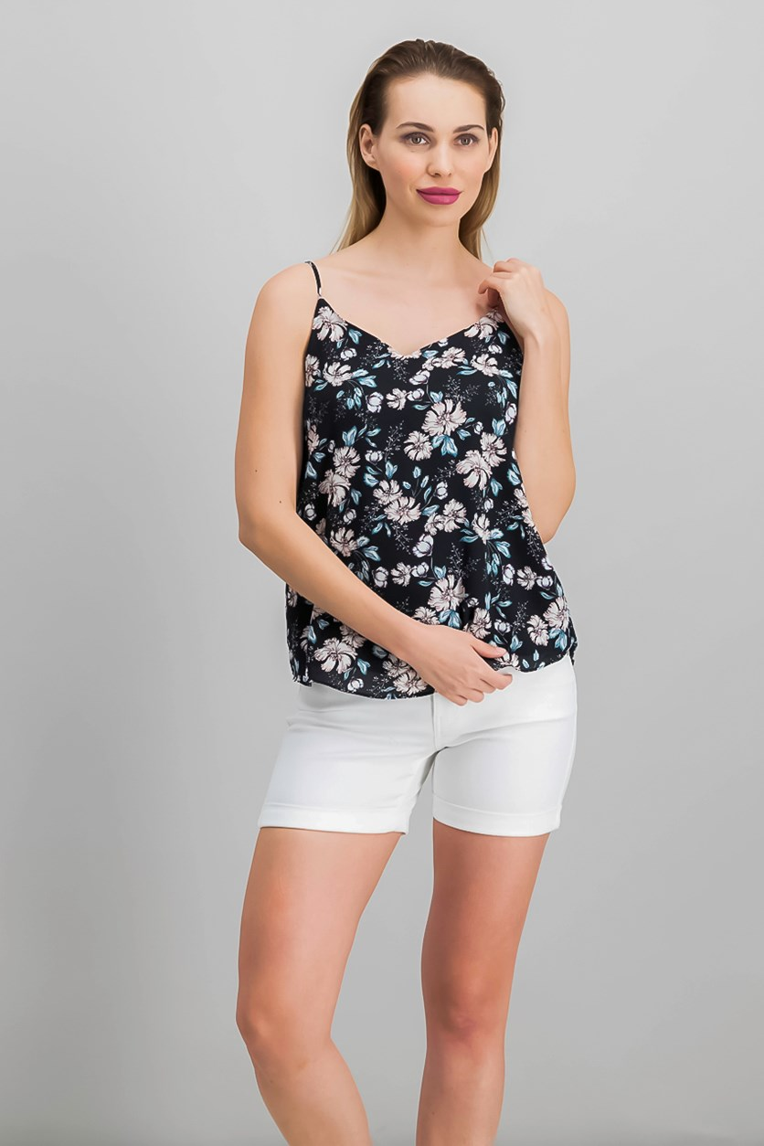 Juniors' Floral Tank Top, Black