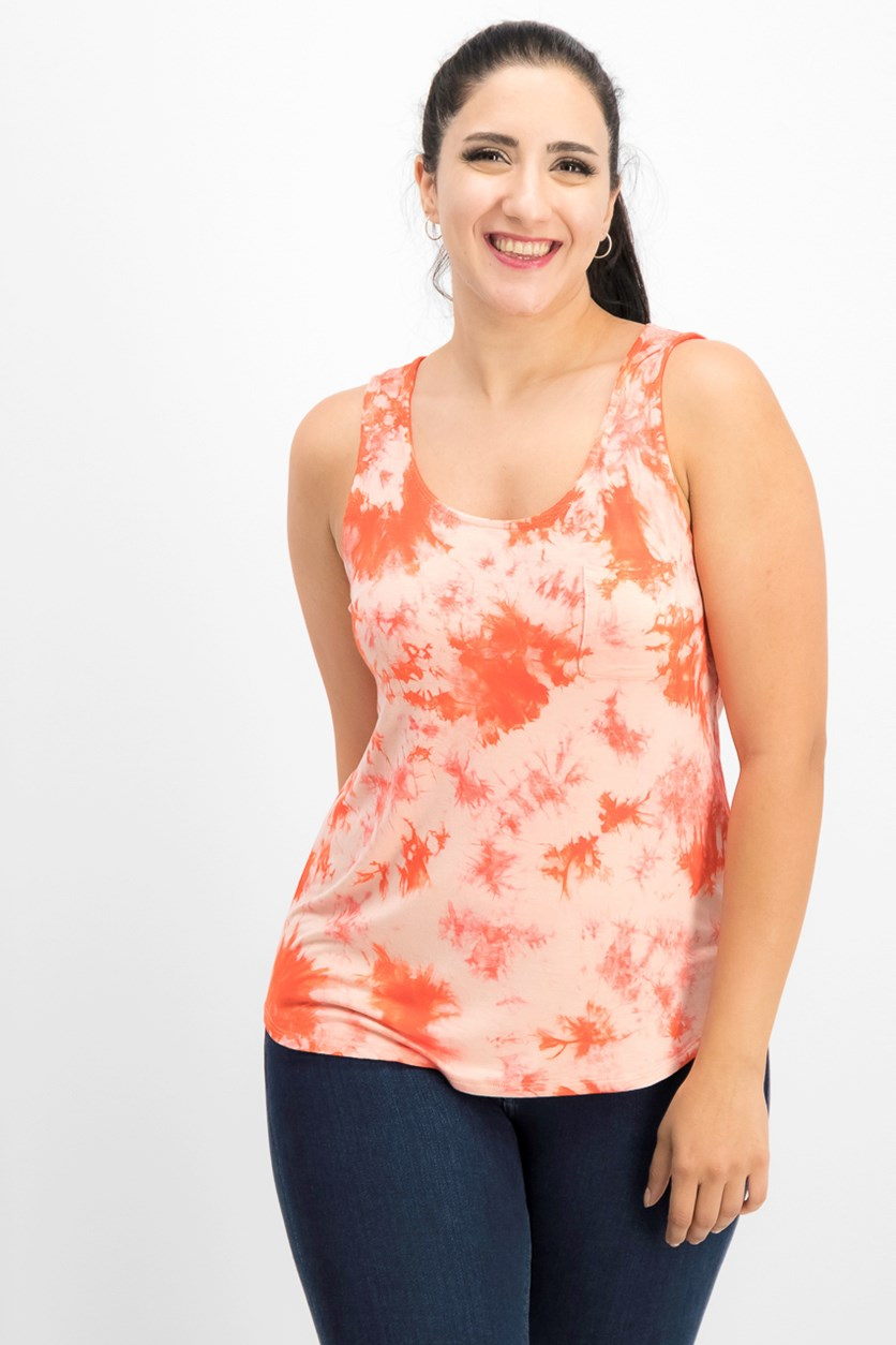 Juniors Tie-Dye Tank Top, Poppy Coral