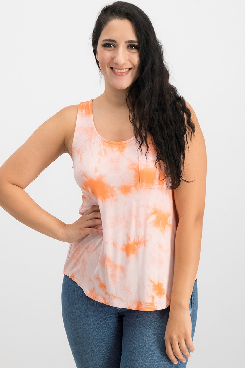 Juniors Tie-Dye Tank Top, Vive La Melon