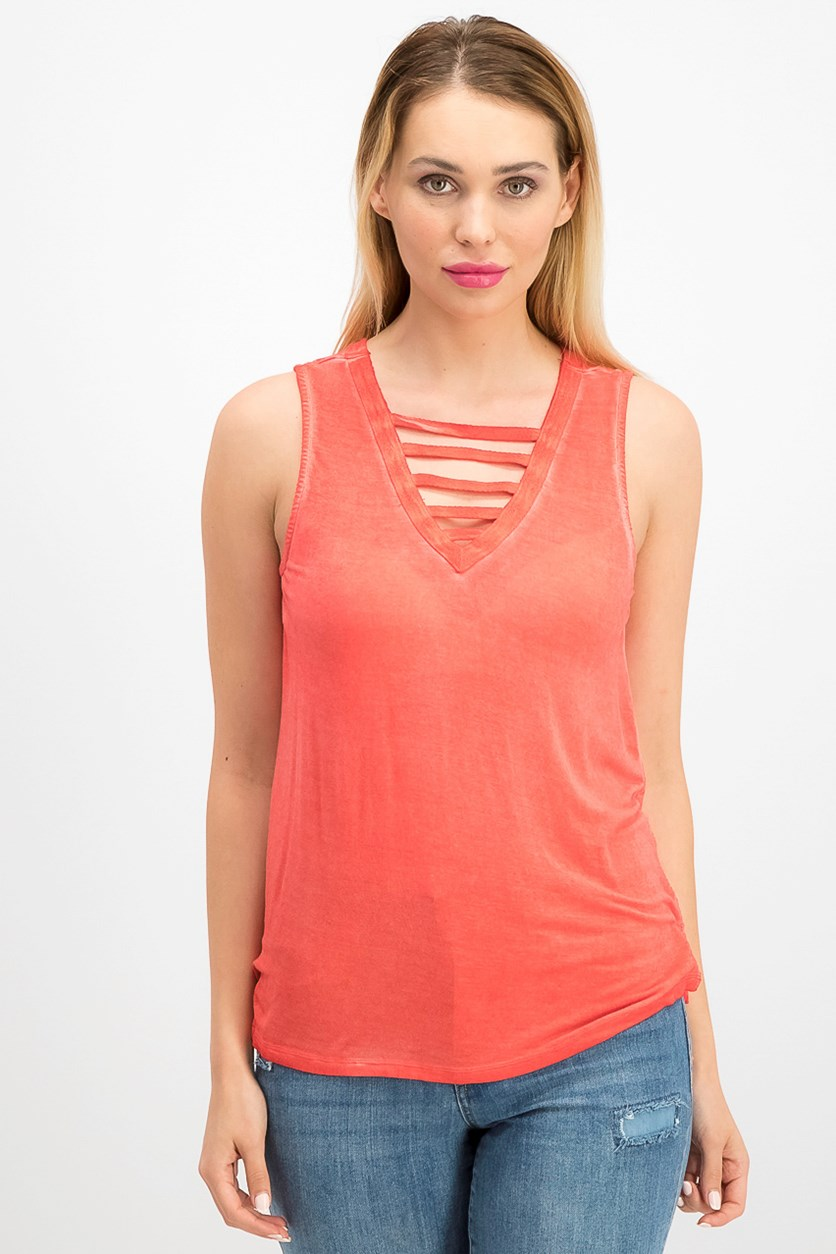 Juniors Lattice-Front Tank Top, Poppy Coral