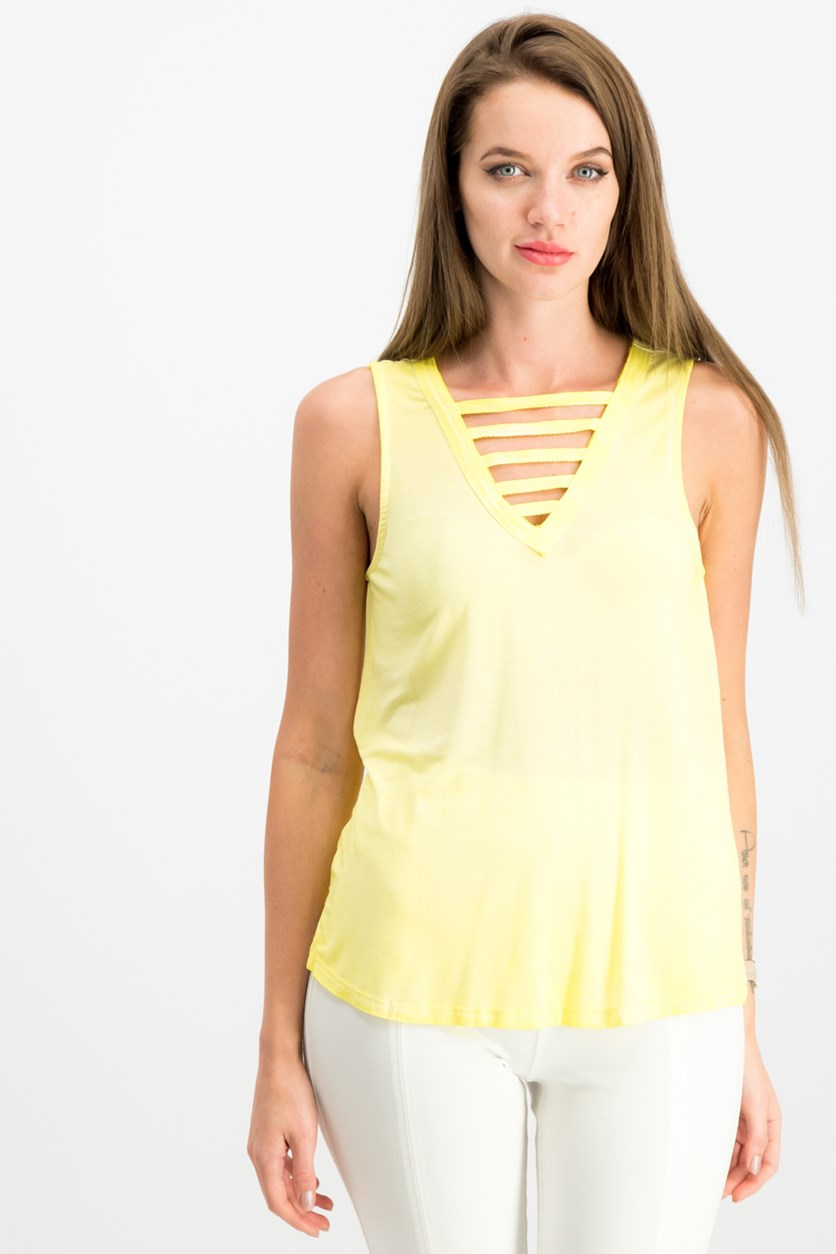 Juniors' Lattice-Front Tank Top, Sundrop