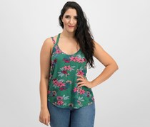 Hippie Rose Juniors' Strappy-Back Tank Top, Green Floral