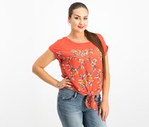 Hippie Rose Juniors' Tie-Front Top, Red Floral