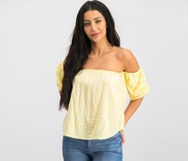 Hippie Rose Juniors' Off-The-Shoulder Gingham Top, Yellow/White