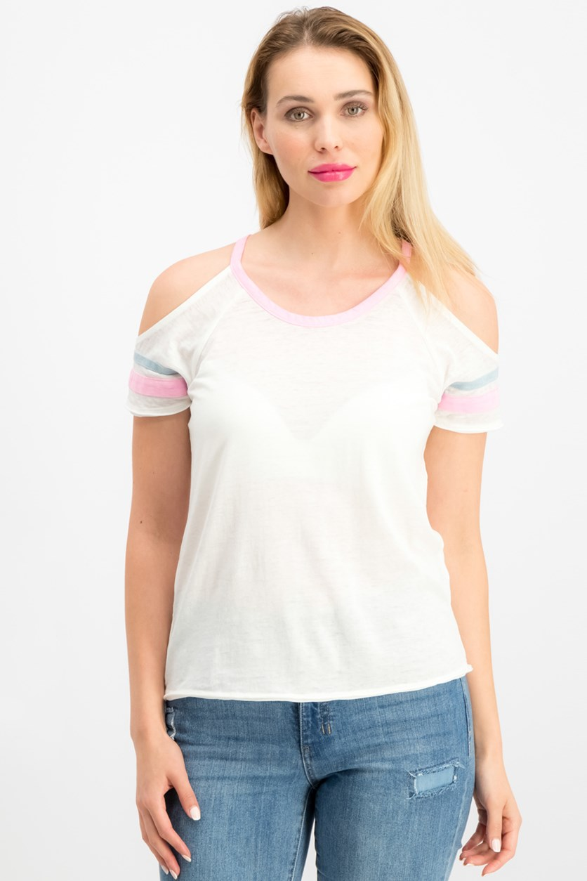 Juniors' Cold-Shoulder Football T-Shirt, White/Pink