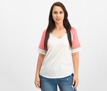 Hippie Rose Juniors Colorblocked Burnout Football T-Shirt, Coral/Ivory Combo