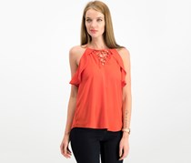 Hippie Rose Juniors Ruffled Lace-Up Top,  Sahara Red