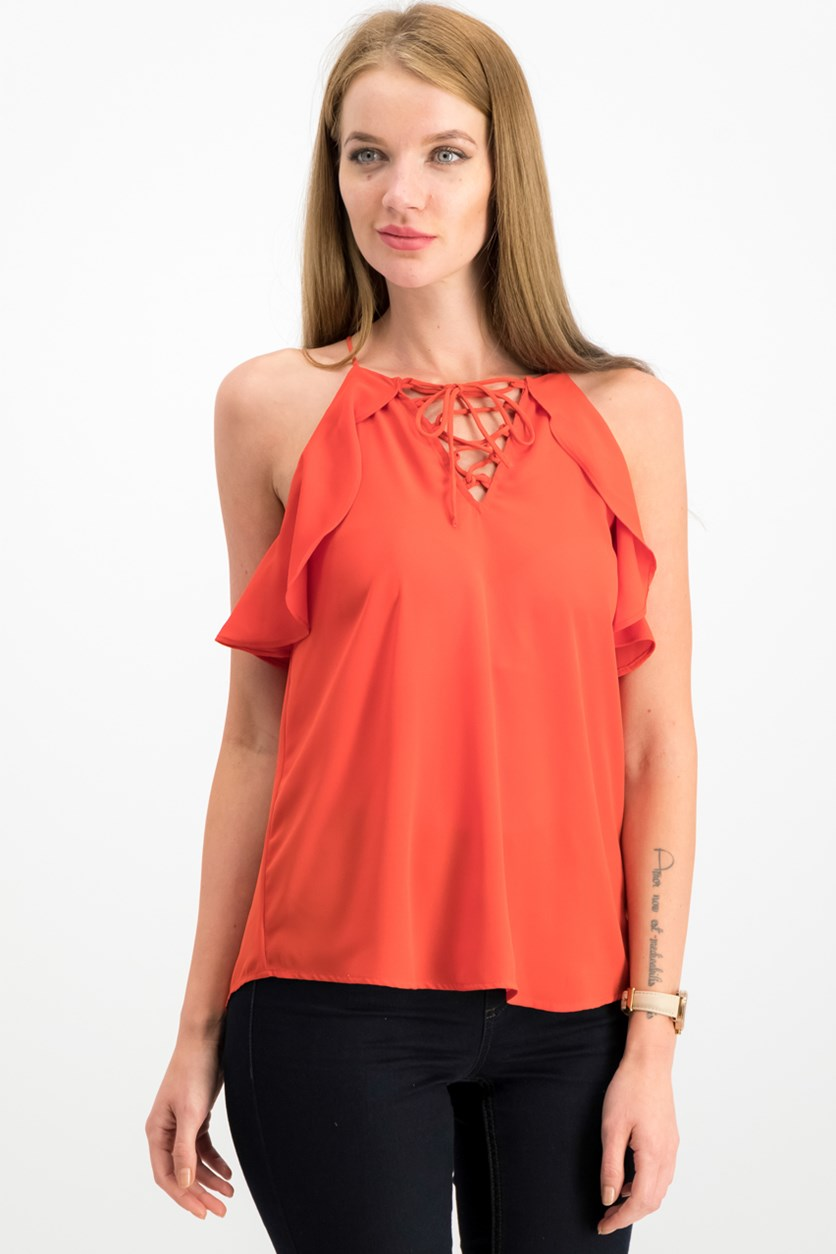 Juniors Ruffled Lace-Up Top,  Sahara Red