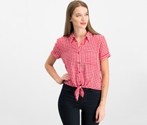 Hippie Rose Juniors' Gingham Tie-Front Camp Shirt, Red/White
