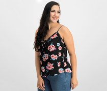 Hippie Rose Juniors' Printed Lace-Up Tank Top, Black