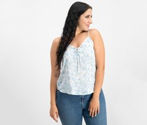 Hippie Rose Juniors Printed Lace-Up Tank, Ivory Blue Paisley