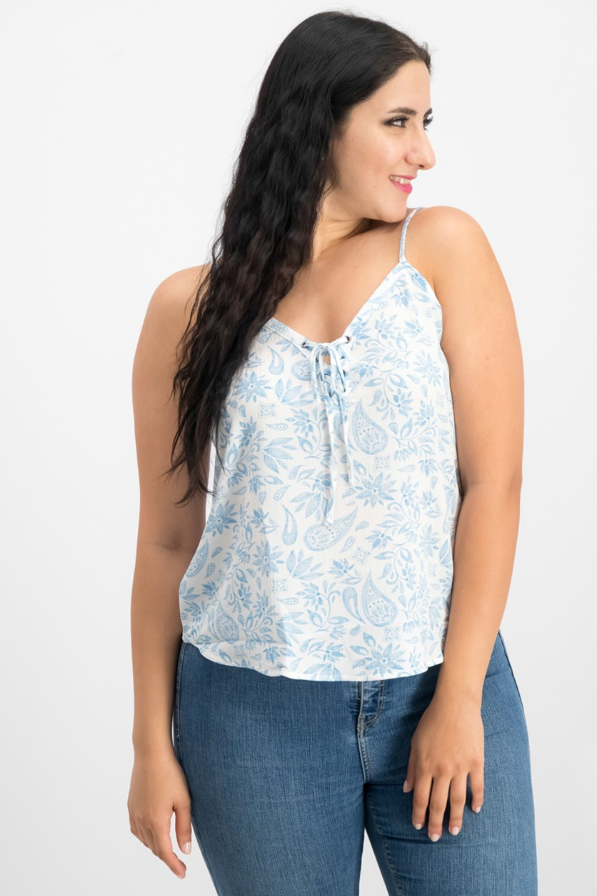 Juniors Printed Lace-Up Tank, Ivory Blue Paisley