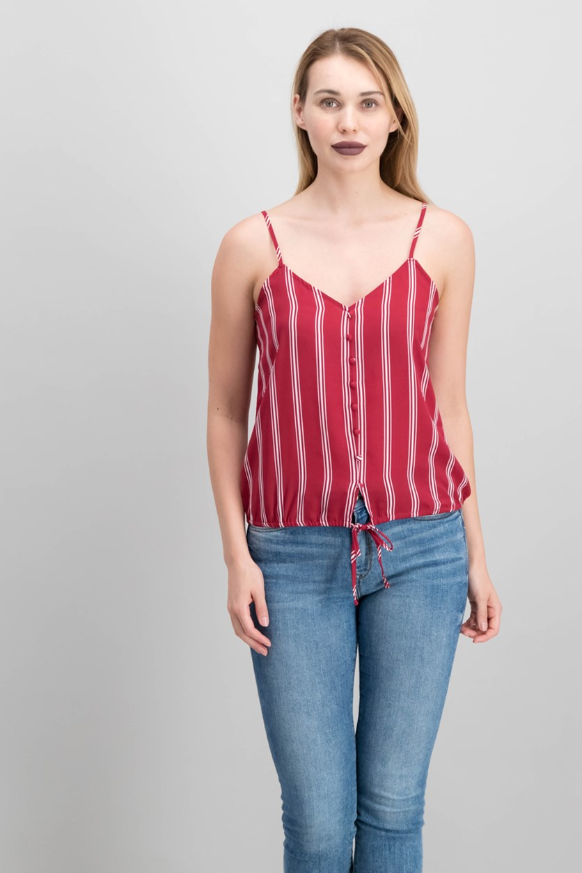 Juniors Striped Adjustable Top, Red Stripe