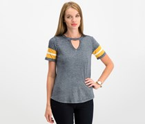Hippie Rose Juniors' Cutout Varsity T-Shirt, Navy Combo