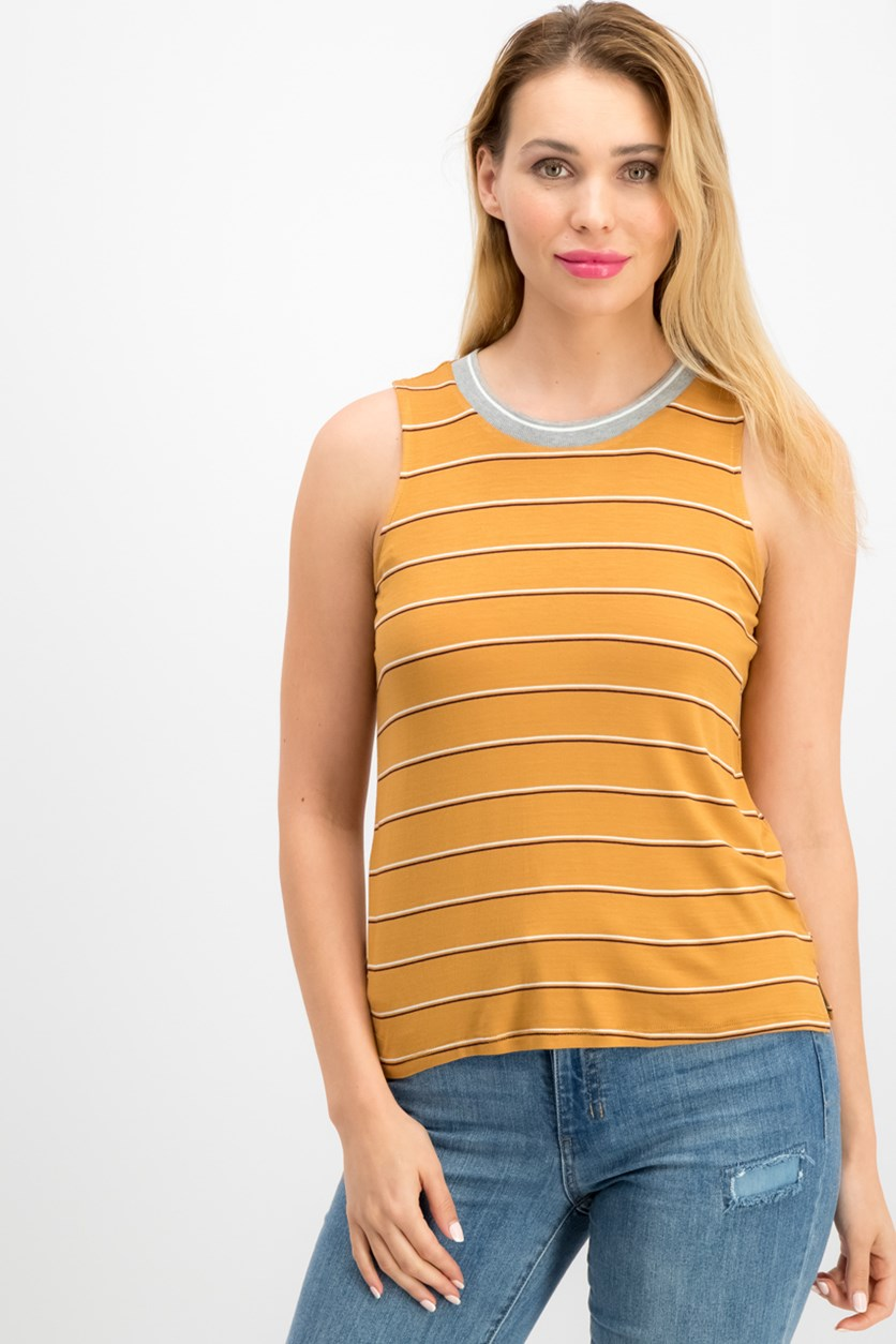 Juniors' Striped Tank Top, Gold Combo