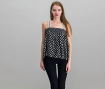 Beltaine Womens Printed Top, Black