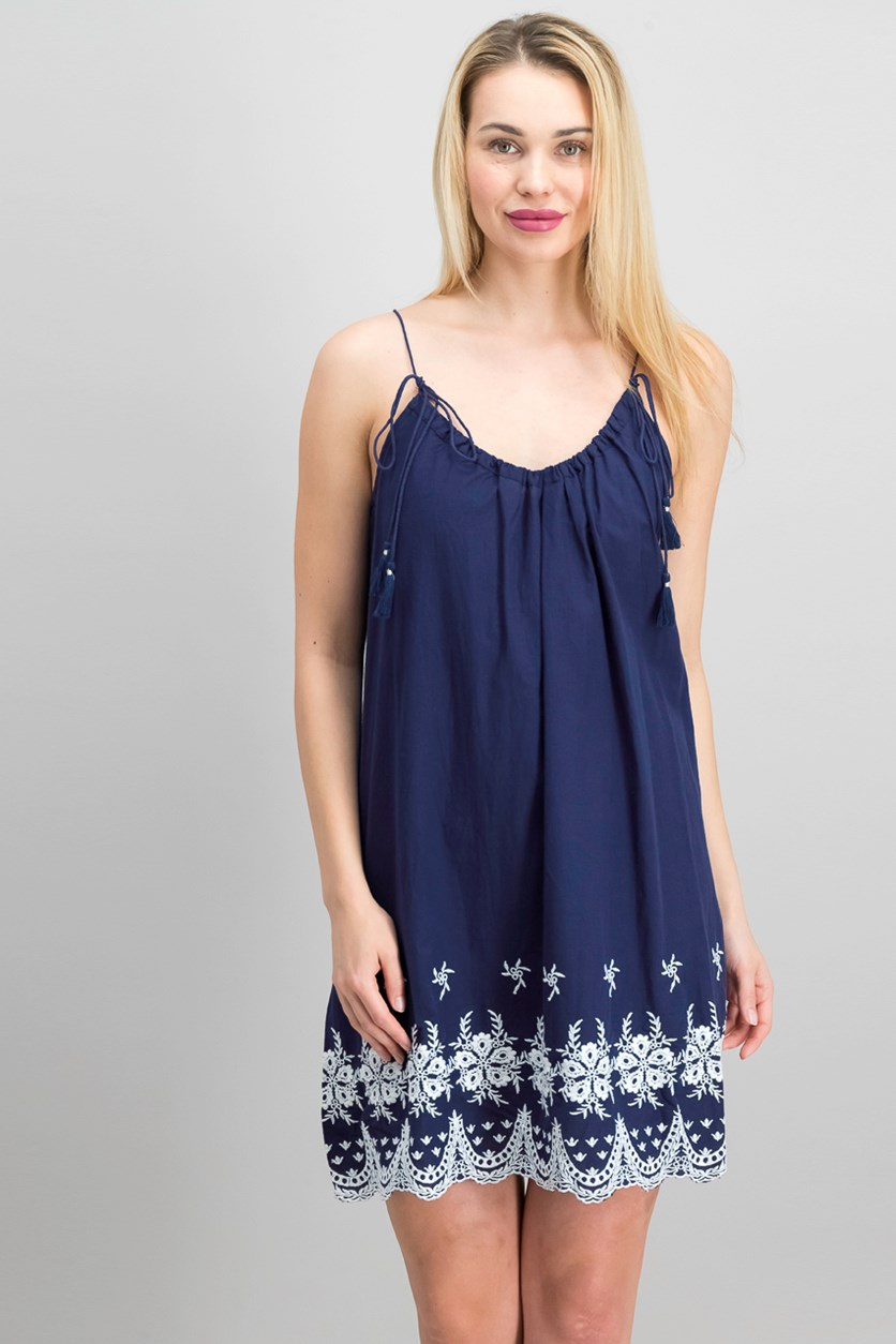 Woven Pullover Cocktail Dress, Navy