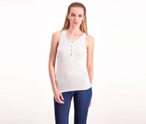 Project Social T Striped Henley Tank, White