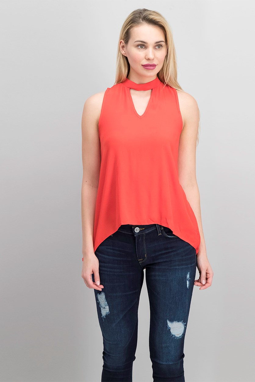 Womens Sleeveless Top, Red Orange