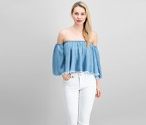 Elan Womens Off The Shoulder Top, Denim