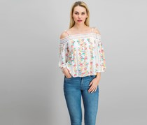 Flying Tomato Floral Print Top, Ivory