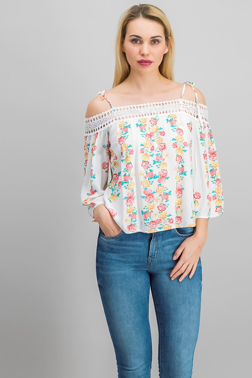 Floral Print Top, Ivory
