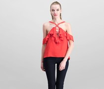 Whyte Eyelash Women's Lace Up Front Cold Shoulder Top, Red