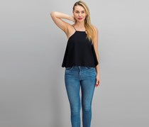 Gracia Cropped Flared Tank Top, Black