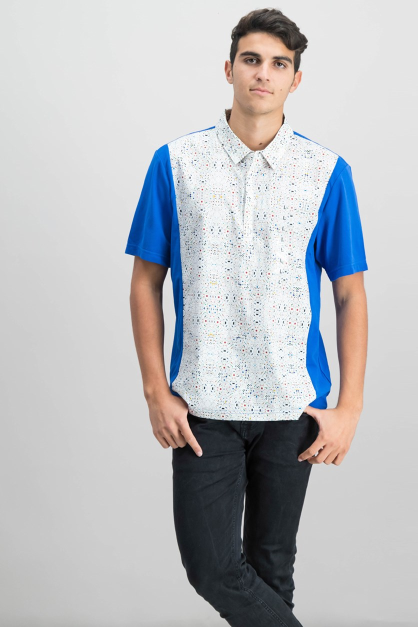 Men's Mix-Media Colorblocked Graphic-Print Polo, Bright White/Blue
