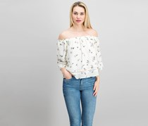 Lucca Women's Floral Print Top, Ivory