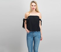 Lucca Womens Off The Shoulder Top, Black